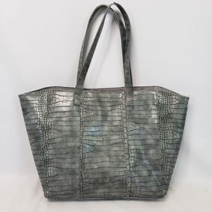Neiman Marcus Gray Leather Tote Bag